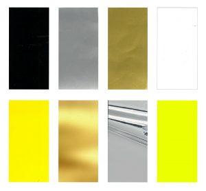 Farver gul, guld, sølv, sort og hvid i skiltefolie til til klistermærker og magnetskilte