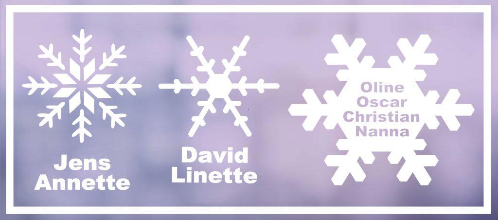 Snefnug til vinduet med navne