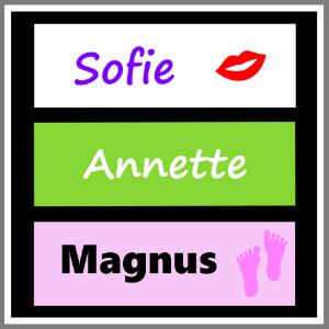 Bordkort med navn i karton, pap eller magnetskilt til bryllup, konfirmation, barnedåb, fest
