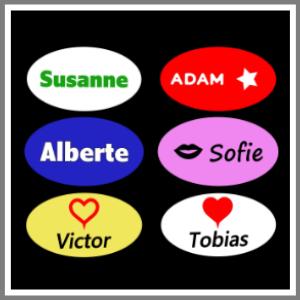 Bordkort ovale med navn - magnetskilte med navn og figurer til bryllup, konfirmation, barnedåb, fest
