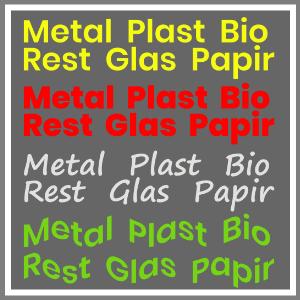 Affaldssortering tekster til store affaldsbeholderen