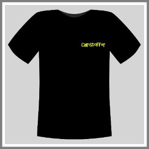 Tryk på tøj t-shirt sort neongul navn front