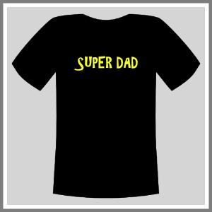 Tryk på tøj t-shirt sort neongul super dad mand