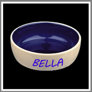 Madskål hundeskål vandskål keramik blå navn og krone