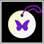 Refleksbrik rund personlig sommerfugl violet