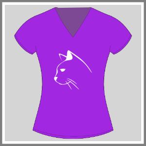 T-shirt med tryk dame, kat, silhuet, lilla og hvid