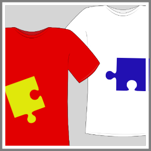 T-shit med tryk figurer mand hvid og rød venne-t-shirts