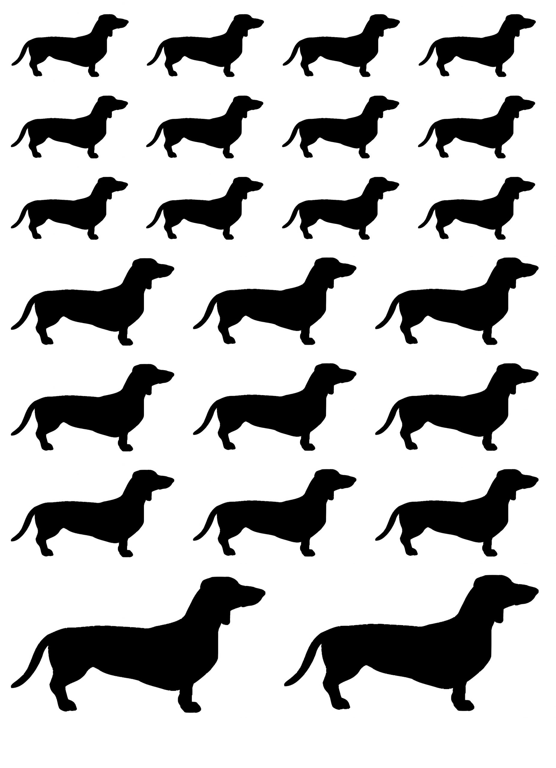 Klistermærker med kæledyr hunde gravhunde ark