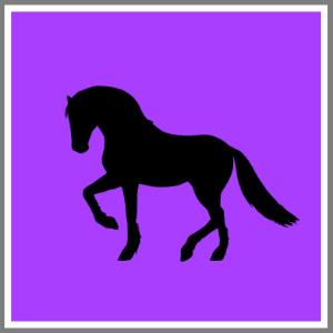 Gardin med strygemærke hest
