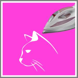 Strygemærke tryk tøj kat hvid på pink