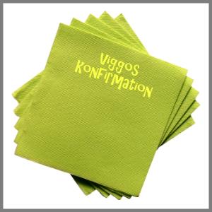Papirserviet navn strygemærke tryk konfirmationgrøn