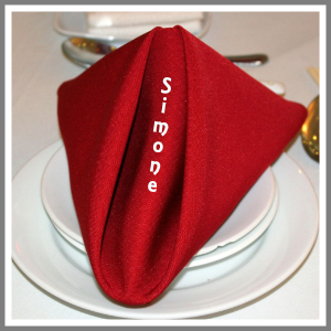 Papirserviet navn strygemærke tryk bordkort rød