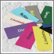 Bordkort med navn aflange karton