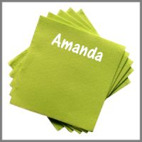 Papirserviet navn strygemærke tryk bordkort grøn