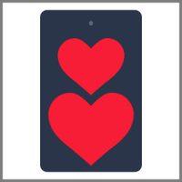 Refleksbrikker mørkeblå med røde hjerter