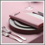 Stofserviet med navn farve lyserød lilla konfirmation, bryllup fest